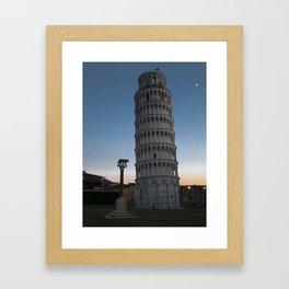 Pisa Tower At Night 2 remus romulus Tuscany Italy Framed Art Print