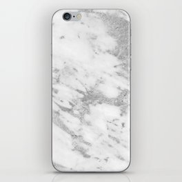 Marble - Silver and White Marble Pattern iPhone Skin