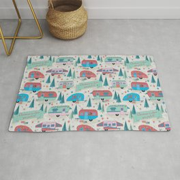 """Vintage Christmas Campers """"Christmas is where you park it"""" Rug"""