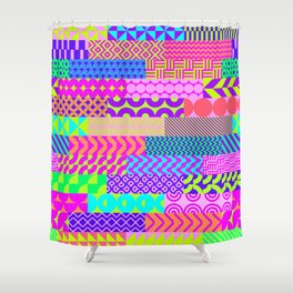 Modern geometrical abstract pink teal lime green stripes Shower Curtain