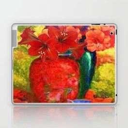 RED AMARYLLIS RED-GREEN VASE STILL LIFE Laptop & iPad Skin