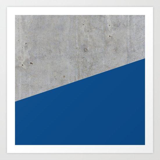 Concrete and lapis blue color Art Print