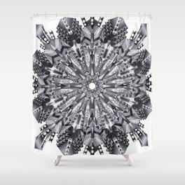 Black and White Snowflake Mandala on Clarinet Reeds Shower Curtain