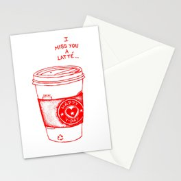 I miss you a latte Stationery Cards