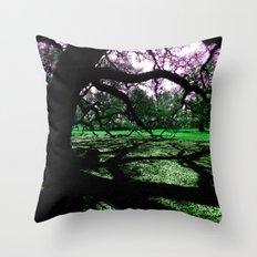 Green Oak Shadows Throw Pillow