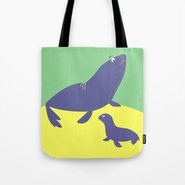Mother sea lion with cub Tote Bag