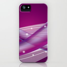 Whimsical Purple Ombre Background and Soft Gradient Wavy Lines with Sparkles iPhone Case