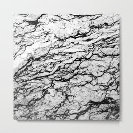 Black and White Marble Stone Pattern Metal Print