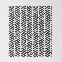 Simple black and white handrawn chevron - horizontal -  #Society6 Throw Blanket