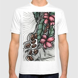 Coffee: from flower to toasted grain doodle (2) T-shirt