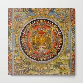 Manjushri Meditation Gold Thangka Mandala Metal Print