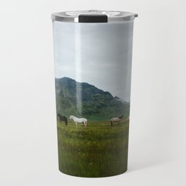 Icelandic Horses Posing for a Photo Travel Mug