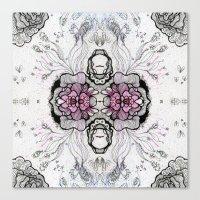 duvet cover Canvas Prints featuring Flower Duvet Cover by Tintedfaint