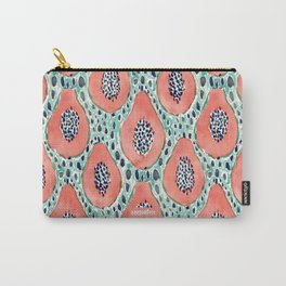 PAPAYA PARTY Tropical Fruit Print Carry-All Pouch