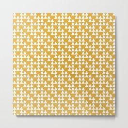 Geometric Art, Mustard Yellow, Triangles Print, Abstract Art Metal Print