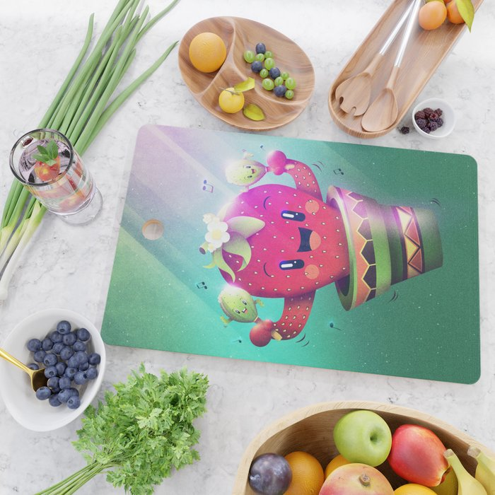 Strawberry Cactus Cutting Board