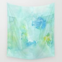 transparent Wall Tapestries featuring Transparent Blue by Alina Shevchenko