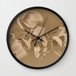 Dogwood Tree Flowers (sepia-light) Wall Clock