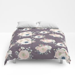 Dog Rose Pattern  Mauve Comforters