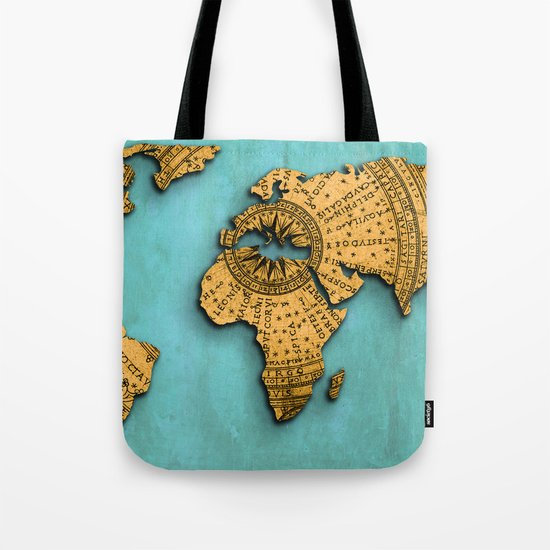 Vintage World Map on Jade Dragon Teal Tote Bag