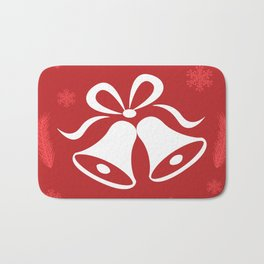 Christmas Bells With Red Snowflakes Background Bath Mat