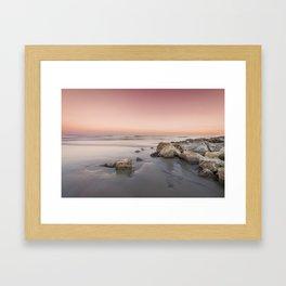 Sunset Over The Jetties Framed Art Print