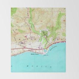 Vintage Map of Malibu California (1950) Throw Blanket