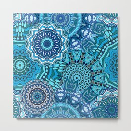 Blue Boho Mandela Pattern 5 Metal Print