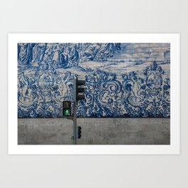 tiled wall in porto Art Print