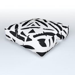Survival Knives Pattern - Black and White Outdoor Floor Cushion