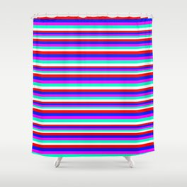 Colored Stripes - Fire Red Royal Blue Pink Mint White Shower Curtain