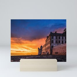 Dramatic sunset at Mont Saint Michel Mini Art Print
