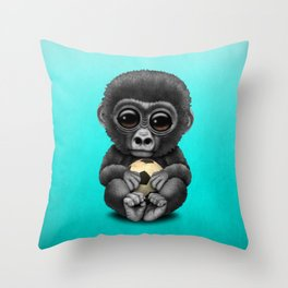 Cute Baby Gorilla With Football Soccer Ball Throw Pillow