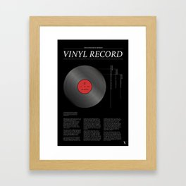 The Iconic Vinyl Record (Black, Red) Framed Art Print