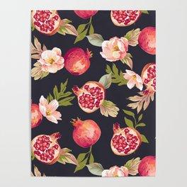 Pomegranate patterns - floral roses fruit nature elegant pattern Poster