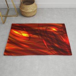 Glowing cosmic orange background made of black red metallic lines. Rug