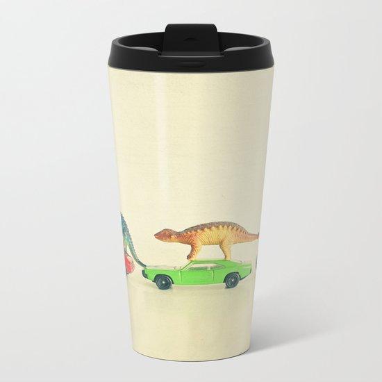 Dinosaurs Ride Cars Metal Travel Mug