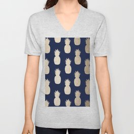 Gold Pineapple Pattern Navy Blue Unisex V-Neck