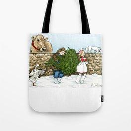 Christmas on a Farm Tote Bag