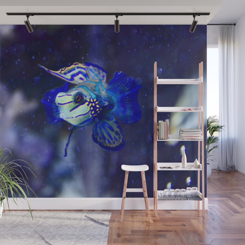 Blue Fish In Aquarium Wall Mural