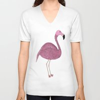 flamingo V-neck T-shirts featuring Flamingo by Frida Strömshed