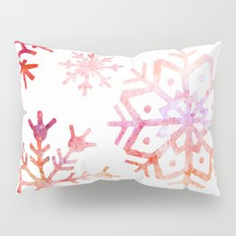 Red Watercolor Snowflakes Pillow Sham