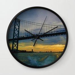 The Ambassador Bridge connects Detroit USA, & Windsor CA Wall Clock