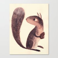 squirrel Canvas Prints featuring Squirrel by Chuck Groenink