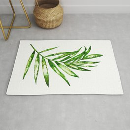 Green ink painting - fern Rug