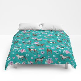 Horse Pattern, Floral Print, Turquoise, Little Girls Room, Horses Comforters