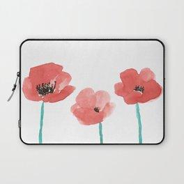 Three Poppies \\ Watercolor Flowers Laptop Sleeve