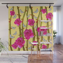 WHITE BUTTERFLIES & CERISE PINK ROSE THORN CANES YELLOW Wall Mural