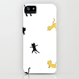 Black and yellow cats doing yoga iPhone Case