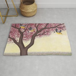 spring goldfinches Rug